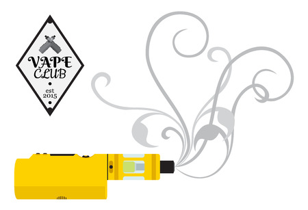 Vaporizer cigarette, electronic, vape device, shop in flat style. Badge, icon, sign for vape shop, club.