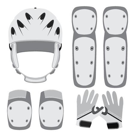 El equipo de protección para skate, patinaje sobre ruedas, bicicleta en estilo plano.