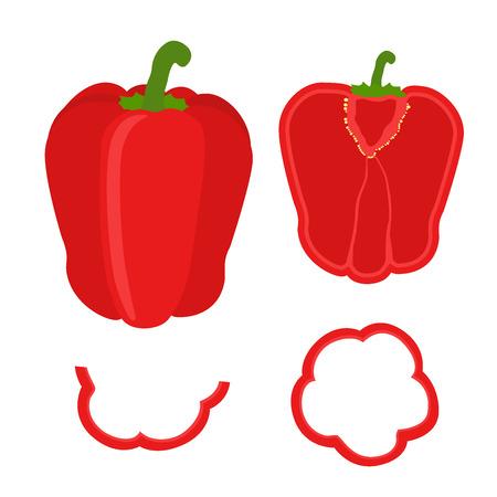 Zestaw plastry czerwonej papryki. Pierścienie, pół i ćwiartka pieprzu w stylu płaskiej. Ilustracje wektorowe