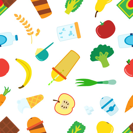 Pattern of cartoon food for smoothie with blender, mixer. Ingredients for berry, fruit, cereal, vegetable, protein, lactic cocktails.  illustration. Illustration