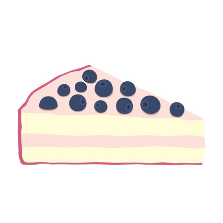 Blueberry cheesecake illustration in flat style. Isolated cake with berries. Illustration