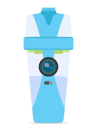 Smart hydrate bottle with electronics, device. Filter technology, flat style. Illustration