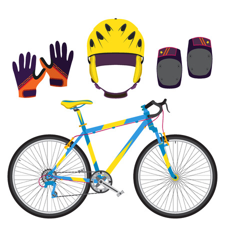 elbow pads: Bicycle, bike equipment and protect gear in flat style. Gloves, knee pads and helmet for protection.