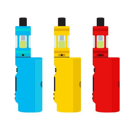 glycol: Vape devices set. Vaping culture, smoking. Vapor vaping. Flat design.