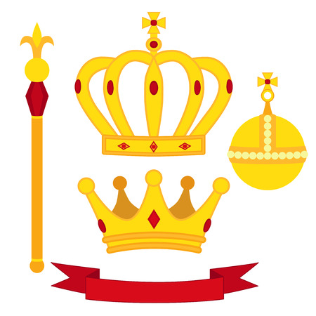 Heraldic symbols, monarch set. Royal traditions combination. Two crowns, the orb and the scepter. Flat isolated illustration.