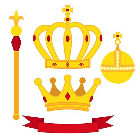 simboli araldici, set monarca. Reale tradizioni combinazione. Due corone, il globo e lo scettro. illustrazione isolato piatto.
