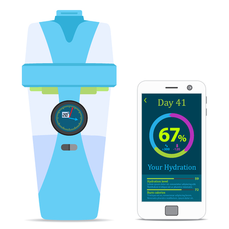 hydrate: Smart hydrate bottle with filter, smartphone, wireless device. Flat style. Illustration