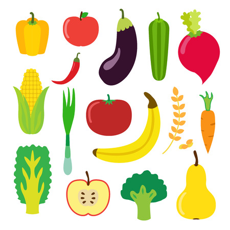 cauliflower: Vegetables and fruit set for smoothie, hipster drink. Flat icons set of banana, apple, laminaria, pepper, cereal and other. isolated illustration.