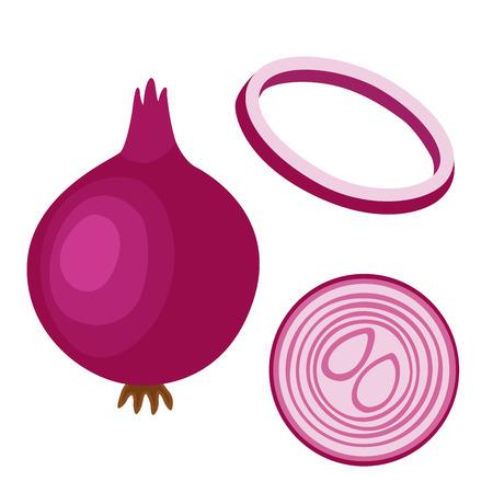 Onion illustration. Set of sliced, chopped red onion. Flat style.