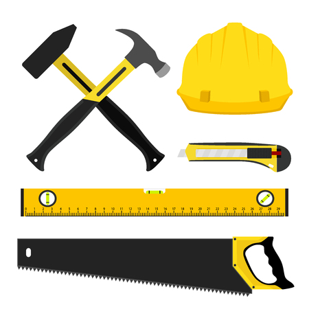 plumb: Set of repair tools. Worker kit in flat style. Helmet, hammers, waterpas, saw and other equipment for construction.