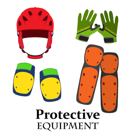 cycling helmet: Protection equipment for bike, gear for bicycle in flat style. Helmet, knee pads, elbow pads, gloves in bright trendy colors. Illustration