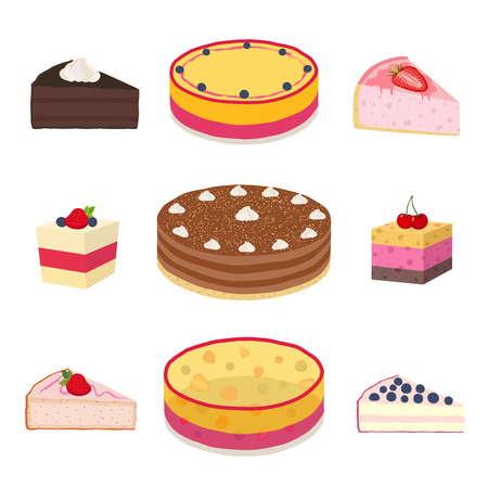 blueberry cheesecake: Set of different hipster cakes, cheesecakes, pies, pastry in flat style. Berry, jelly, cocoa, coffee cakes with cream
