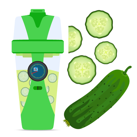 hydrate: Smart hydrate bottle with cucumber, nutrition smoothie drink. Flat style.