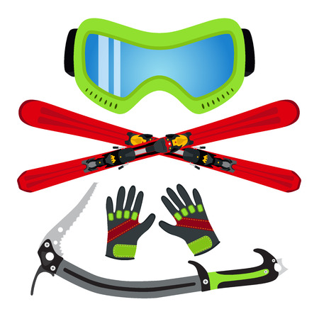 Ice sports set flat style - goggles, ski, gloves, ice axe. Made for ski rental, extreme sports and winter games. Illustration