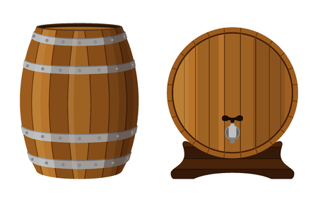 scotch whisky: Wooden cask with rum. Cognac, brandy, scotch in cartoon barrel. Flat vector style. Illustration