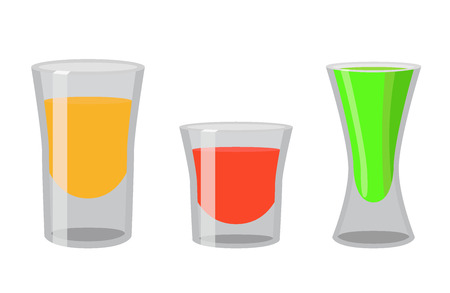 rum: Shot glasses with golden tequila, rum, brandy, absent. Cocktail shots for bar, pub, restaraunt. Flat vector style Illustration