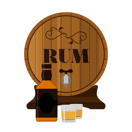 scotch whisky: Rum wooden barrel with bottle and shots. Alcohol drink in flat style design. Vector illustration. Rum, whiskey, brandy, liquor for pubs, restaurants, hipster bars. Illustration