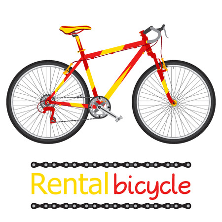Rent bicycle, rental bike for tourists in flat style. Illustration