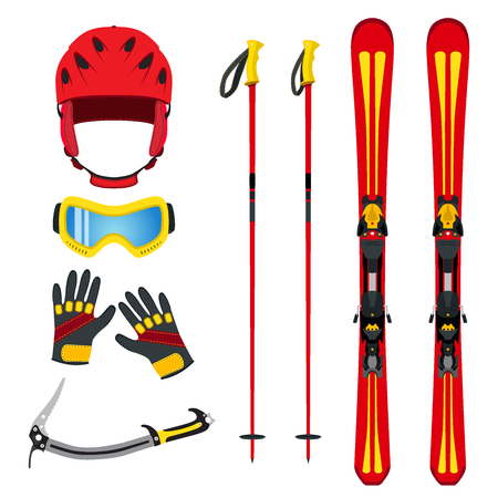 sports equipment: Equipment for skiing, snowboarding, mountain hiking in flat vector style. Winter extreme sports set. Illustration