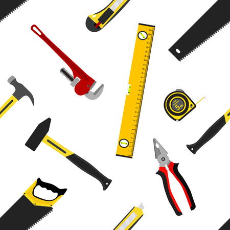Seamless pattern with repair working tools in flat vector style. Measure tape, saw, hammers, wrench, spanner, waterpas, pliers isolated.