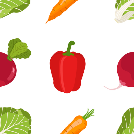 Seamless pattern of ripe vegetables from the garden. Red pepper, sweet carrot, chinese cabbage, beetroot in flat style.