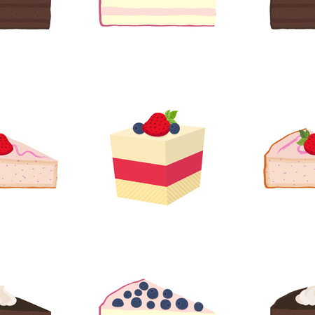 blueberry cheesecake: Pattern of hipster cakes, cheesecakes, pies, pastry in flat style. Berry, jelly, cocoa, coffee cakes with cream