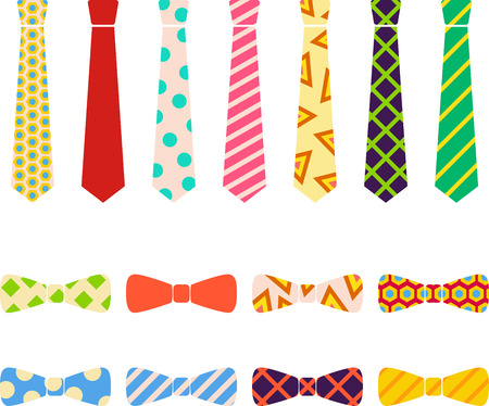 Ties and bow ties set in cartoon style. Illustration