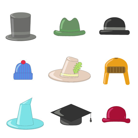 bowler hat: Cartoon hats collection. Hats and bowlers collection, with wizard hat, top hat, British hat, graduation hat, Irish hat, bowler hat. Vector illustration cartoon.