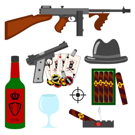 tommy: Isolated vector gangster set on white background. Thompson gun, pistol, gun, hat, whiskey, vine, gambling, cigars ashtray cards and bullets set