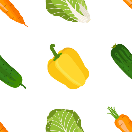Seamless pattern of ripe vegetables from the garden. Yellow pepper, sweet carrot, chinese cabbage, cucumber in flat style.