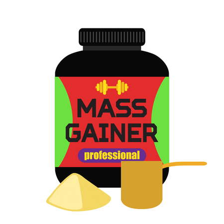measuring cup: Sports nutrition, mass gainer, professional powder, measuring cup Flat style