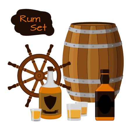 gin: Rum set. Alcohol drink, helm, barrel, shots, bottles of rum. Flat style design. Vector illustration. Rum, whiskey brandy liquor for pubs restaurants hipster bars