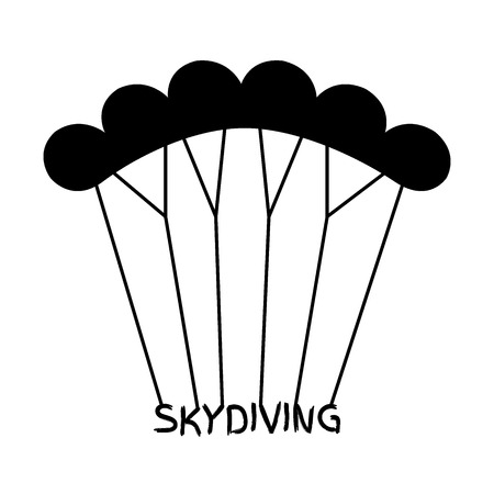 airplay: Skydiving in flat style. Black extreme sport parachuting emblem.