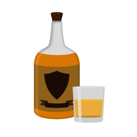 rum: Rum bottle with glass, shot. Alcohol drink flat style design. Vector illustration. Rum, whiskey, brandy, liquor for pubs, restaurants, hipster bars