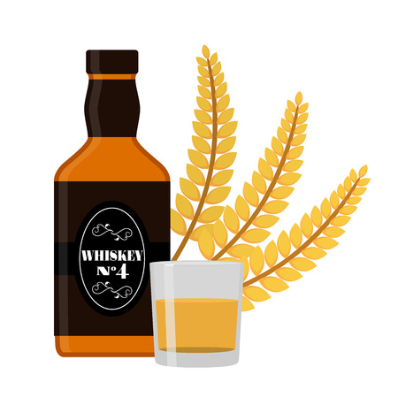 Premium quality whiskey bottle, wheat spikelet, glass, shot Flat style