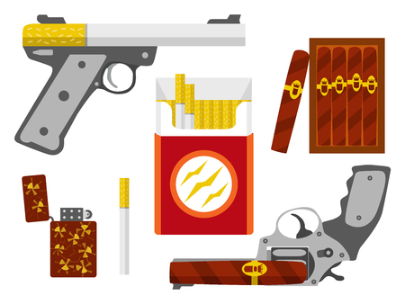 kill: Cigarette pistol, cigar revolver, cigarette pack, box of cigars and lighter set. Smoking kill concept. Flat design element. Vector illustration. Illustration