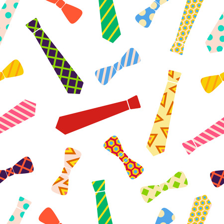Ties and bow ties pattern in cartoon vector style.