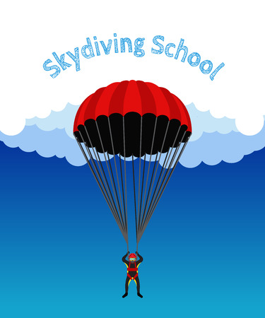 skydiver: Skydiving school, academy illustration. Parachutist, extreme sport, skydiver. Illustration for skydivers club, paragliding company Flat style