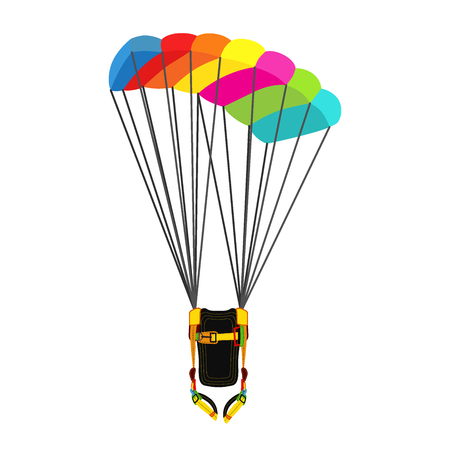 skydiver: Parachute pack with opened parachute. Bright extreme sport equipment for skydiving, parachuting, paragliding. Vector flat style.