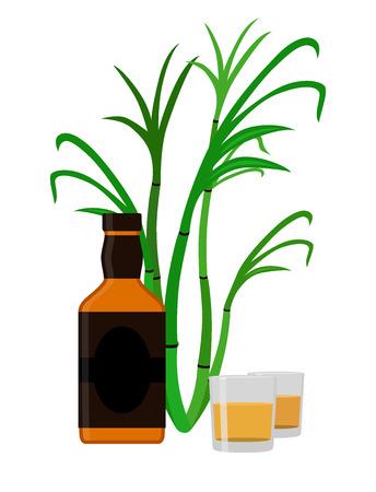 rum: Rum set. Alcohol drink, glasses, shots, bottle of rum. Flat style design. Vector illustration. Rum, whiskey, brandy liquor for pubs restaurants hipster bars Illustration