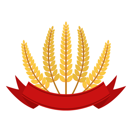 produits céréaliers: Bunch of wheat with ribbon, frame. Flat vector style. Organic food. Illustration