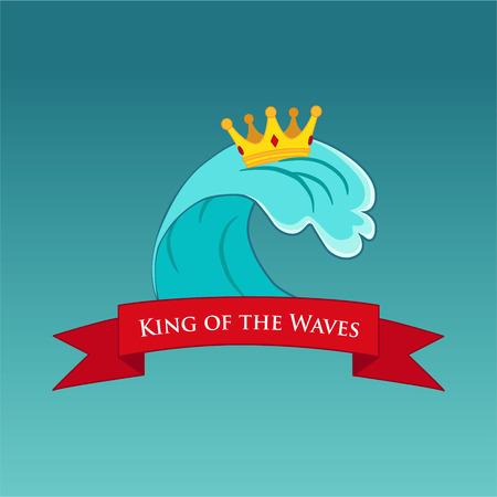 Surfing illustration or emblem with title. Illustration