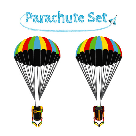 Parachute pack with opened parachute. Bright extreme sport equipment for skydiving, parachuting, paragliding. Vector flat style.