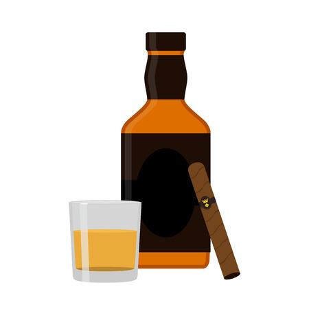 bourbon whisky: Glass of rum, cigar, whiskey. Premium alcohol, tobacco. Flat sty Illustration
