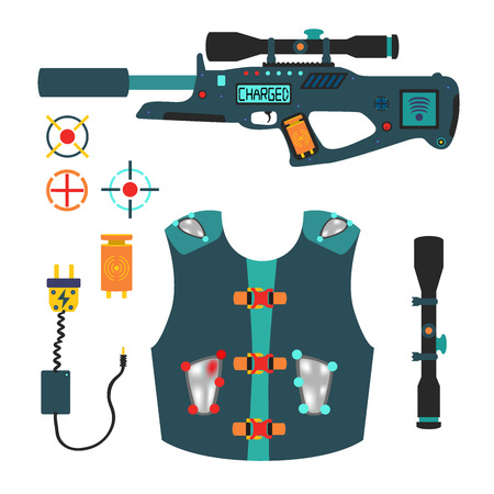 Laser tag game vector set in flat style