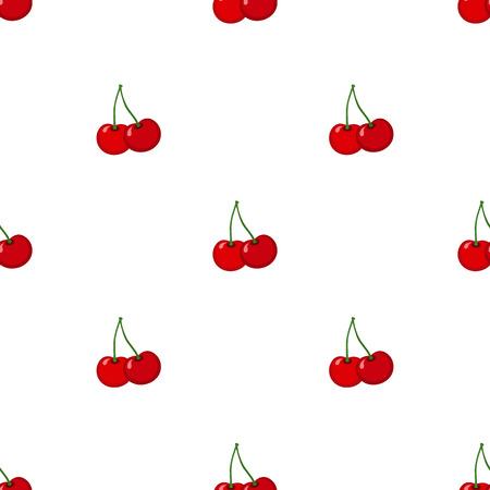 ripe: Cherry seamless pattern. Ripe, sweet, tasty berries. Juicy vegetarian nutrition