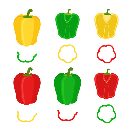 Set of chopped red, yellow, green bell pepper. Flat style.