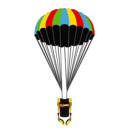 Parachute pack with opened parachute. Skydiving bright extreme sports