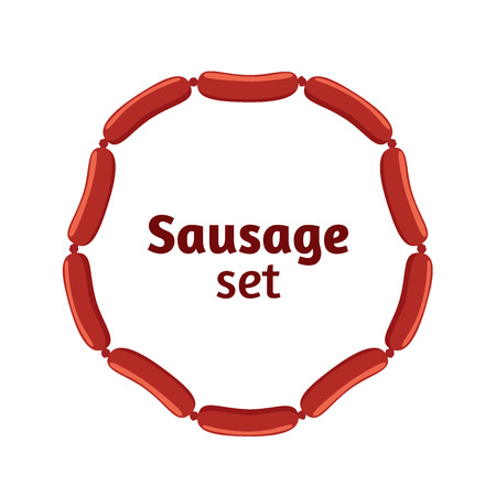 Sausage set. Bacon, meat, barbecue label for market, restaurant Flat vector style