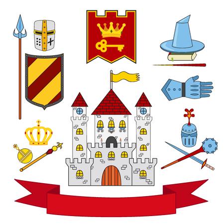 spiked: Kingdom set - castle, lance, shield, knights, helmets, magic wan